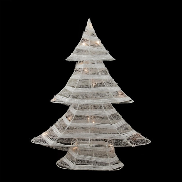 "24.5"" Battery Operated White and Silver Glittered LED Lighted Christmas Tree Table Top Decoration 28358040"