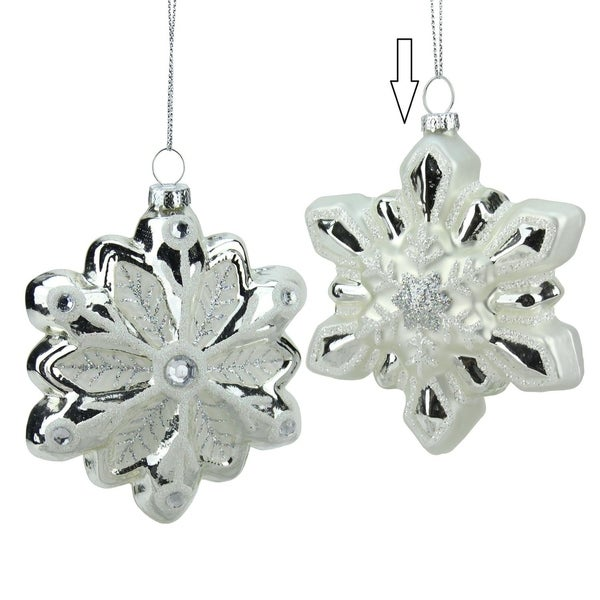 "4"" Glittered White and Silver Snowflake Glass Christmas Ornament 28358967"