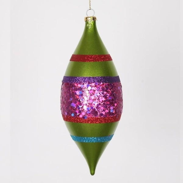 "4ct Lime Green and Cerise Pink Shatterproof Christmas Glitter Finial Drop Ornaments 7"" 28359271"