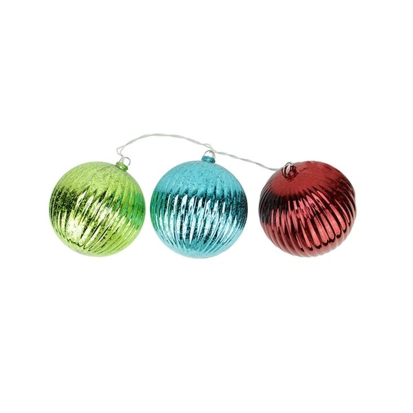 Set of 3 Lighted Multi-Color Mercury Glass Finish Finial Christmas Ornaments - Clear Lights 28359288