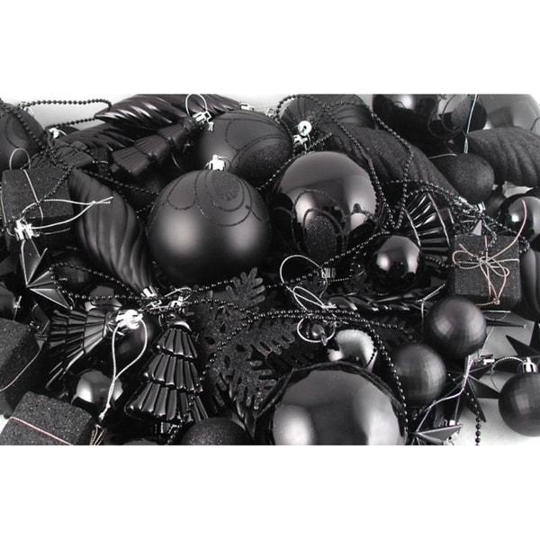 125-Piece Club Pack of Shatterproof Jet Black Christmas Ornaments 28359496