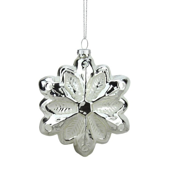 "4"" Silver and White Glass Snowflake Christmas Ornament 28359675"