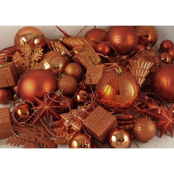 125-Piece Club Pack of Shatterproof Burnt Orange Christmas Ornaments 28359754