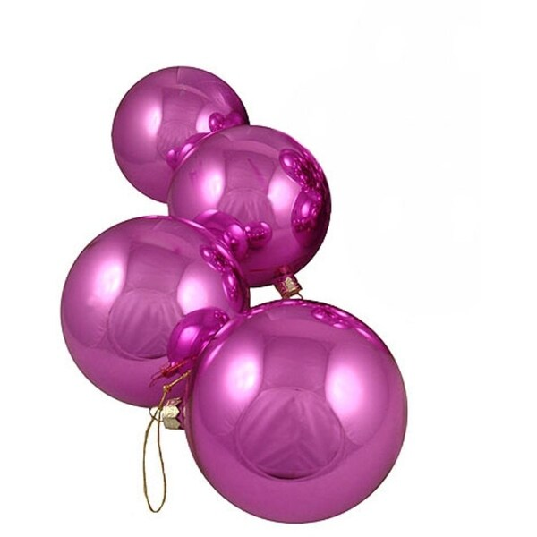 "Pack of 4 Shiny Pink Lollipop Glass Ball Christmas Ornaments 3.25"" (80mm) 28359987"
