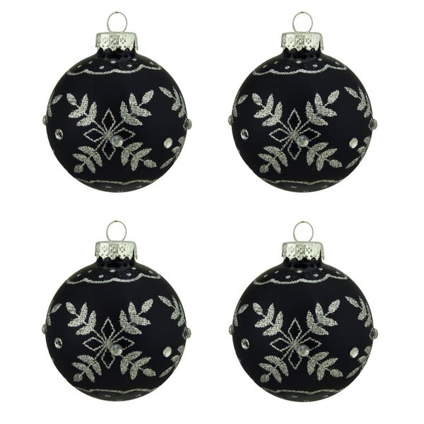 "4ct Matte Black with Silver Snowflake Design Glass Ball Christmas Ornaments 2.5"" (65mm) 28360029"