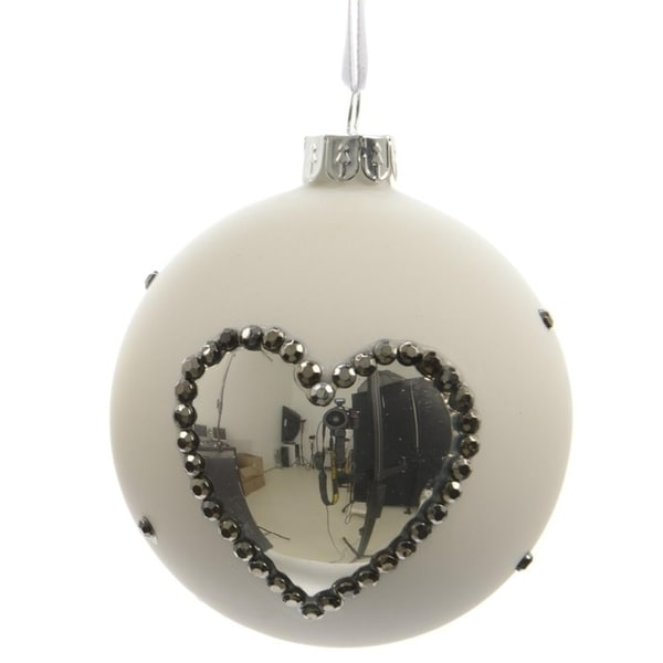 "Set of 3 Winter Light White with Silver Heart Glass Christmas Ball Ornaments 3"" (80mm) 28360494"