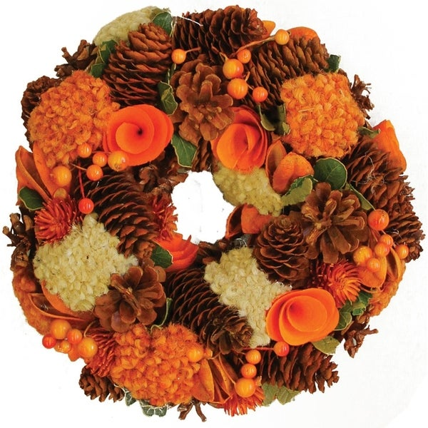"""10"""" Hydrangea and Berry Harvest Artificial Floral Wreath Decoration 28361160"""