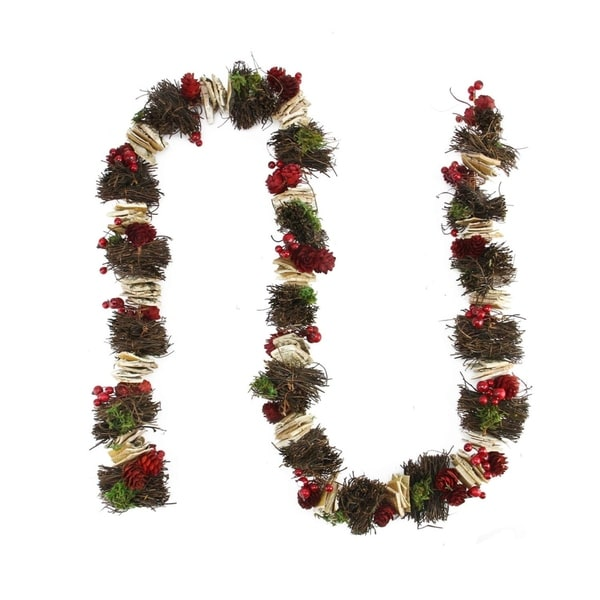 5' Decorative Mossy Natural Twig and Birch Wood Artificial Christmas Garland - Unlit 28361251