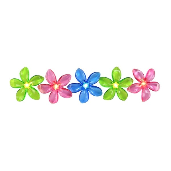 Set of 10 Pink  Blue and Green Flower Patio and Garden Novelty Christmas Lights - White Wire 28362304