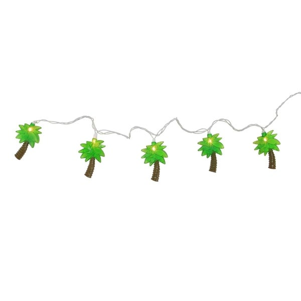 Set of 10 Tropical Paradise Green Palm Tree Patio and Garden Novelty Christmas Lights - White Wire 28362308