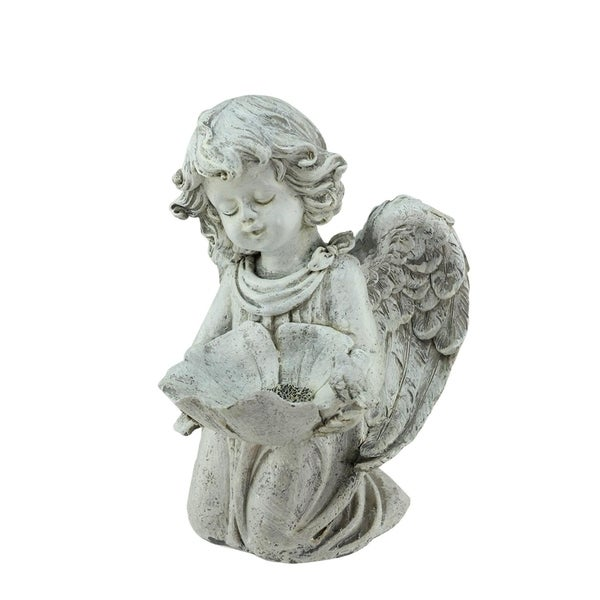 "9.5"" Heavenly Gardens Distressed Resting Cherub Angel Outdoor Patio Garden Statue Bird Feeder 28362309"