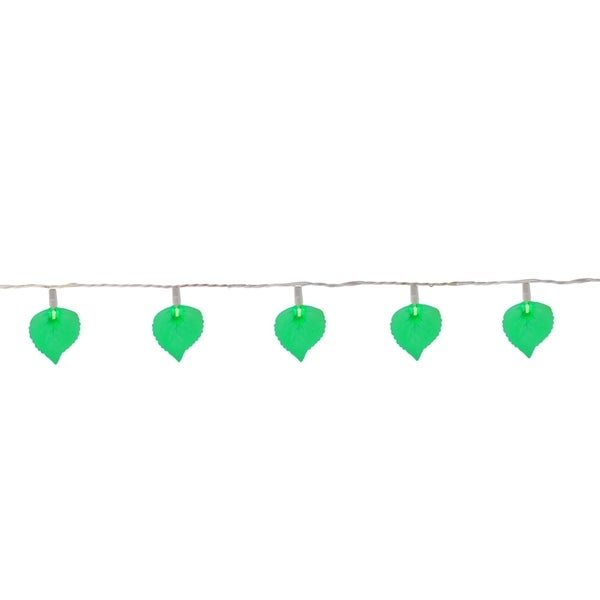 Set of 10 Green Leaf Patio and Garden Novelty Christmas Lights - White Wire 28362317
