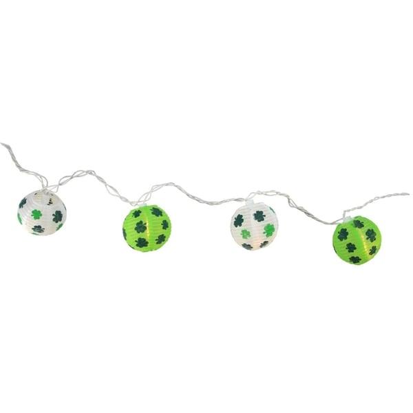 Set of 10 St. Patrick's Day Irish Shamrock Patio and Garden Novelty Christmas Lights - White Wire 28362324