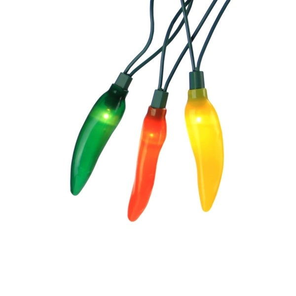 Set of 10 Yellow  Orange & Green LED Chili Pepper Patio & Garden Novelty Christmas Lights-Green Wire 28362344