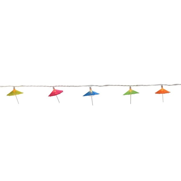 Set of 10 Colorful Sun Umbrella Patio and Garden Novelty Christmas Lights - White Wire 28362380