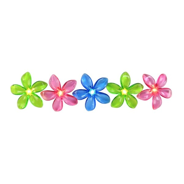 Set of 10 Pink  Blue and Green Flower Patio and Garden Novelty Christmas Lights - White Wire 28362386