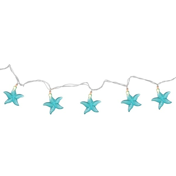 Set of 10 Under The Sea Teal Blue Starfish Patio and Garden Novelty Christmas Lights - White Wire 28362395
