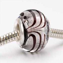 Glass Lampwork 14-mm Wine Swirl European-style Charm Beads (Pack of 2)