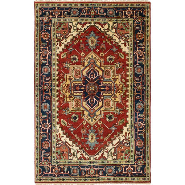 ECarpetGallery Hand-Knotted Serapi Heritage Red  Wool Rug (5'3 x 8'2) 28382762