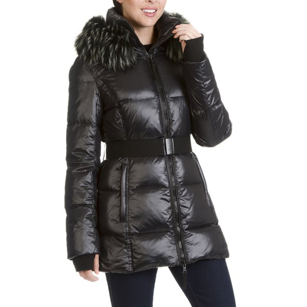 S13 New York Women's Faux Fur Trim Quilted Belted Jacket 28383851
