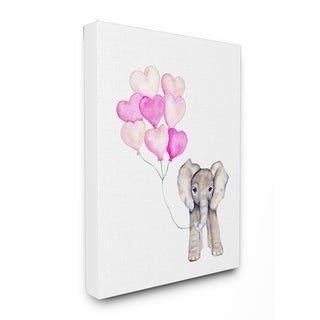 Baby Elephant with Pink Heart Balloons Stretched Canvas Wall Art