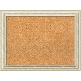 Framed Cork Board, Country White Wash - 32 x 24-inch