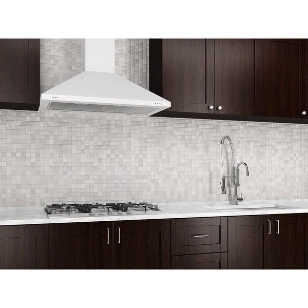 Ancona 30 in. Wall Mounted Range Hood Pyramid Style in White 28406497