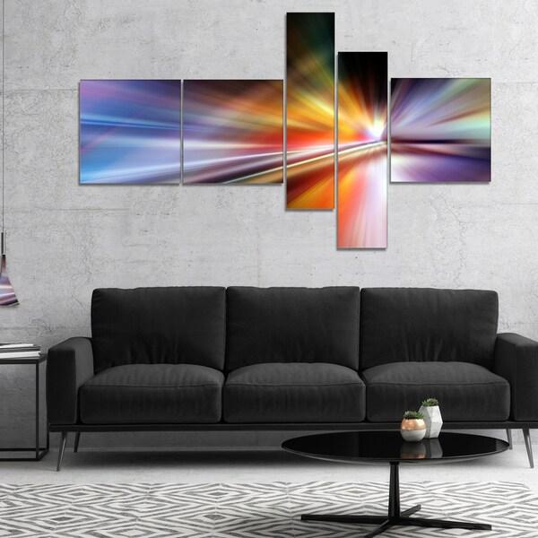 Designart 'Rays of Speed Purple' Abstract Canvas art print 28406549