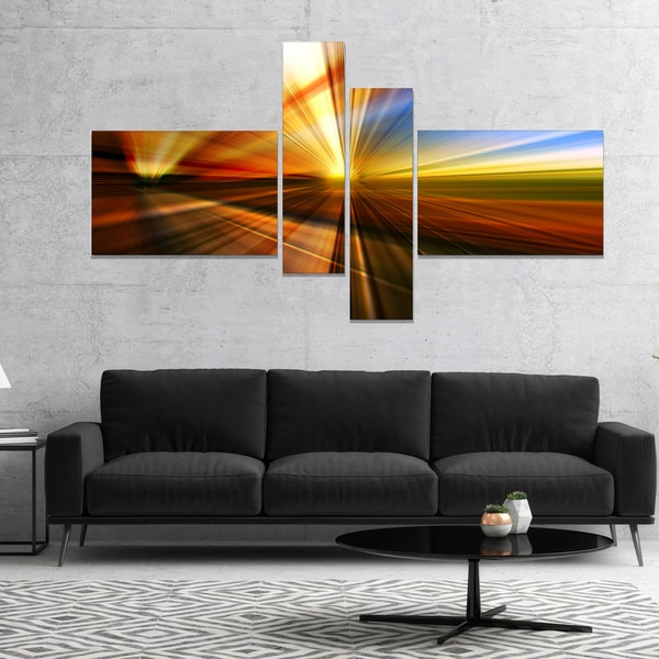 Designart 'Rays of Speed Reflection' Abstract Canvas art print 28406565