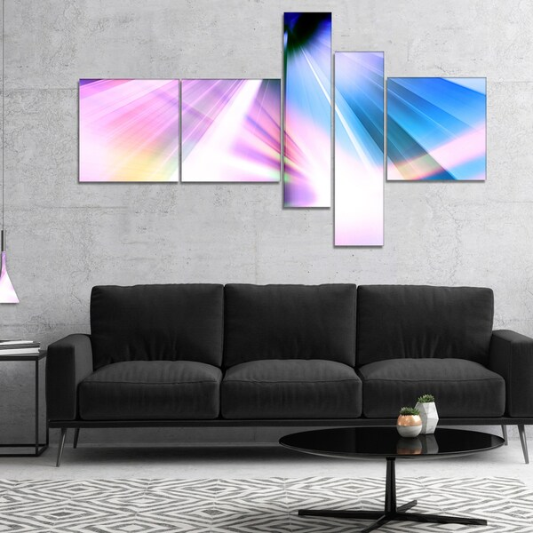 Designart 'Rays of Speed Blue' Abstract Canvas art print 28406578