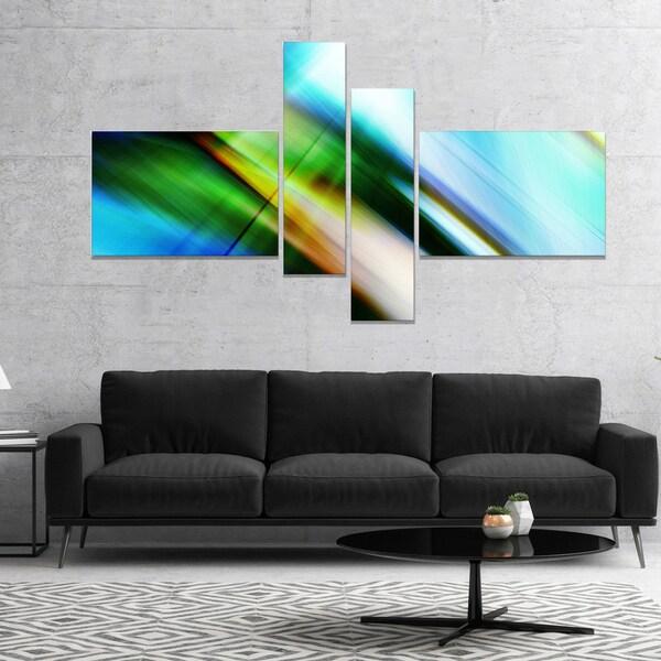 Designart 'Rays of Speed Blue Green' Abstract Canvas art print 28406616