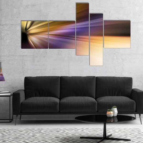Designart 'Rays of Speed Purple Brown' Large abstract art 28406620