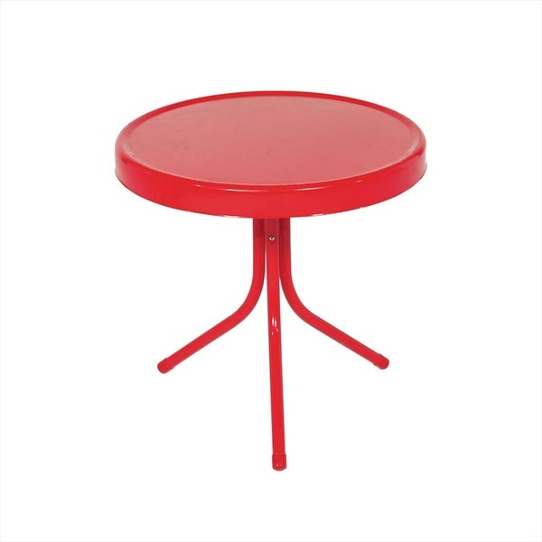 "20"" Vibrant Red Retro Metal Tulip Outdoor Side Table 28410636"