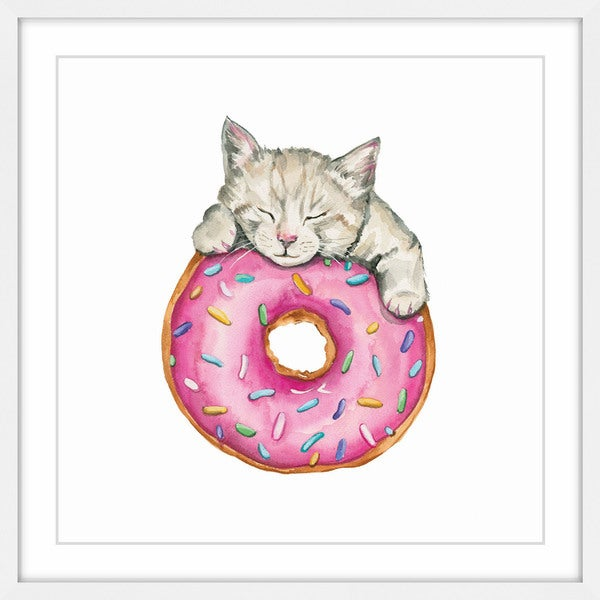 'Donut Kitty' Framed Painting Print 28410853