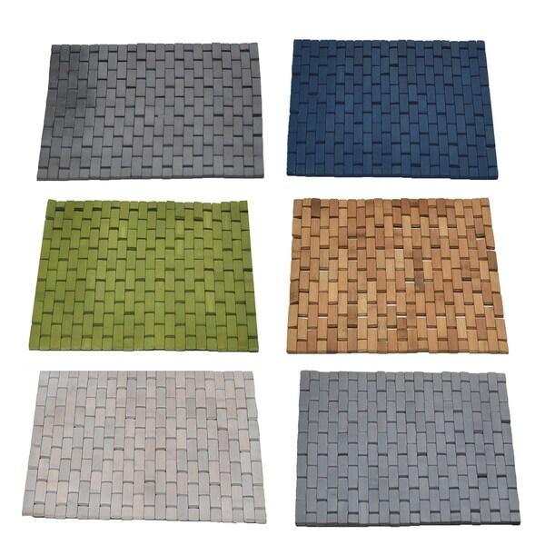 Evideco Bamboo Slats Roll-Up Foldable Shower Door Bath Mat 28428230
