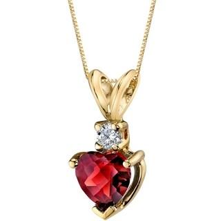 Oravo 14 Karat Yellow Gold Heart Shape 1.50 Carats Garnet Diamond Pendant - Silver