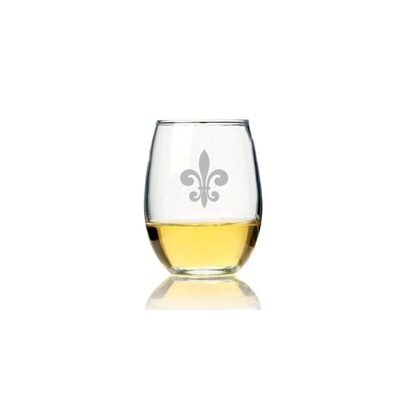 Fleur de Lis Glass Stemless Wine Glass (Set of 4) 28435439