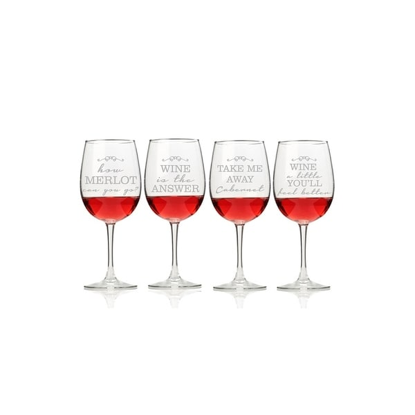 Wine Talking Wine Glasses (Set of 4)