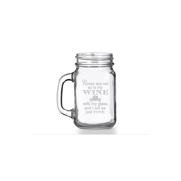 Roses Are Red So Is My Wine Mason Jar Mug (Set of 4) 28436578