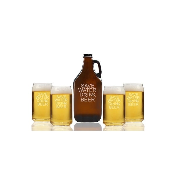 Save Water Drink Beer Beer Amber Growler and Can Glasses (Set of 5)