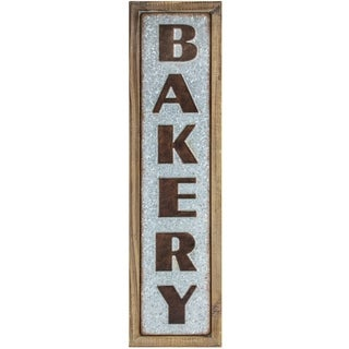 American Art Decor Wood and Metal Vintage Bakery Sign Framed Farmhouse Wall Decor
