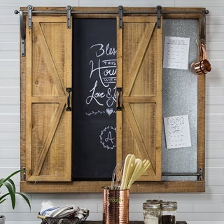 American Art Decor Chalkboard Sliding Barn Doors Message Board Organizer