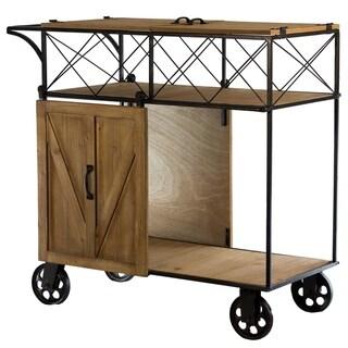 American Art Decor Farmhouse Wood/Metal Barn Door Rolling Bar Cart