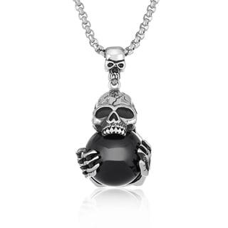"Crucible Men's Antiqued Stainless Steel Black Orb Skull Pendant (30mm Wide) - 30"" - Silver"