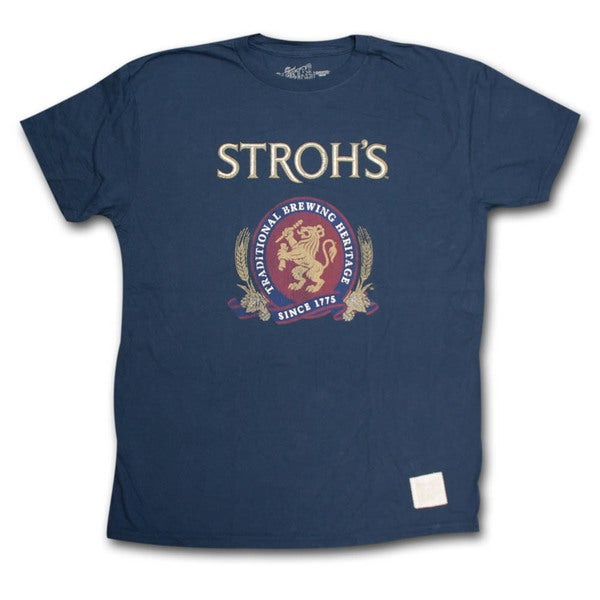 Stroh's Classic Logo Retro Vintage Blue T Shirt 28458623