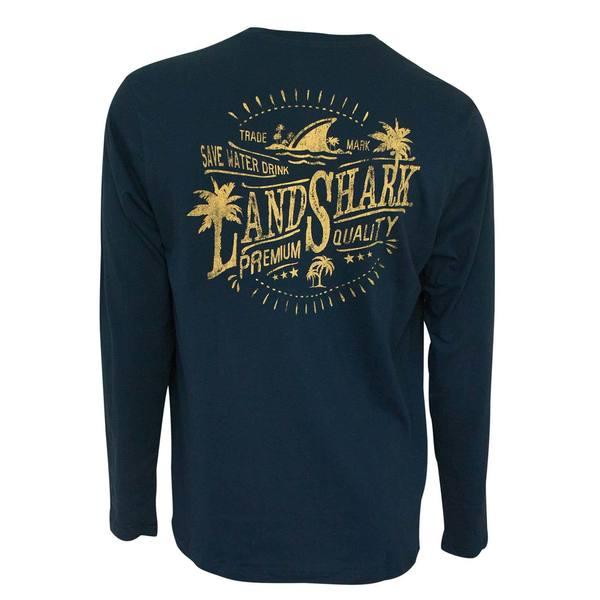 Landshark Save Water Navy Blue Long Sleeve Tee Shirt 28458702