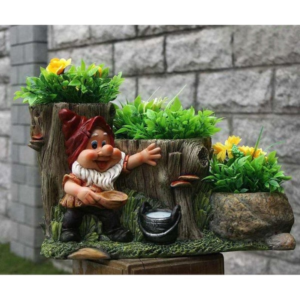 SINTECHNO SNF91088-1 Gnome with Staircase of Flower Pot Planters 28459323