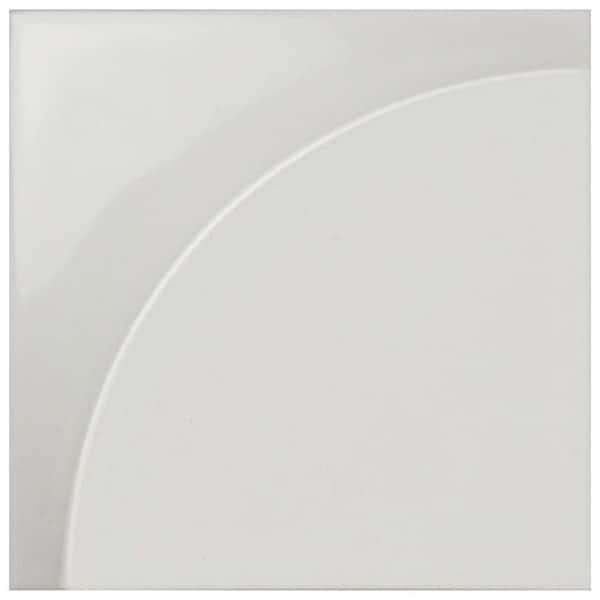 SomerTile 5.875x5.875-inch Magico 3D Curve Glossy White Ceramic Wall Tile (18 tiles/4.7 sqft.) 28459433