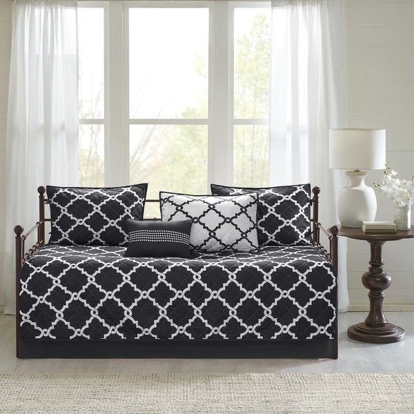Madison Park Essentials Alameda Chic Black Reversible Fretwork Printed 6 Pieces Daybed Set 28460626