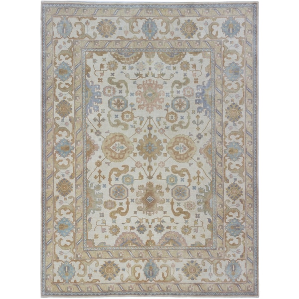 eCarpetGallery Royal Ushak Blue Cotton, Wool Hand-knotted Rug (8'10 x 11'11) 28464608